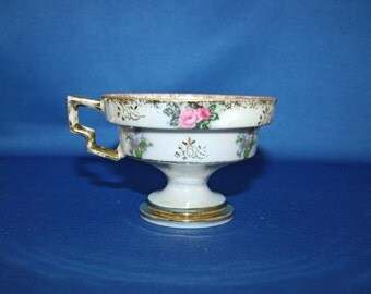 Vintage Opalescent Tea Cup with Roses and Fuchsias lusterware, iridescent teacup pedestal Teacup Coffee Cup