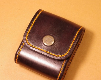 Small leather belt pouch for accessories, orange stitching snap closure