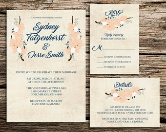 Printable Wedding Invitation Customized Template – Rustic Flower Suite