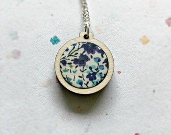 Blue flower necklace, fabric necklace, liberty fabric, liberty print, pendant, teal fabric, leaf print, fern
