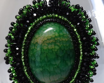 Green Agate Beaded Necklace in Green and Black