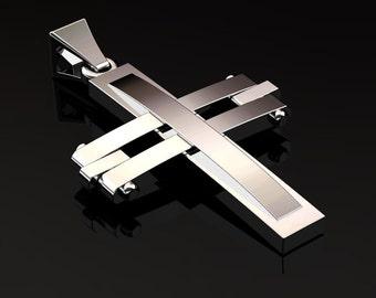 Men's Modern 14K White Gold Cross Pendant C1009-14KWG