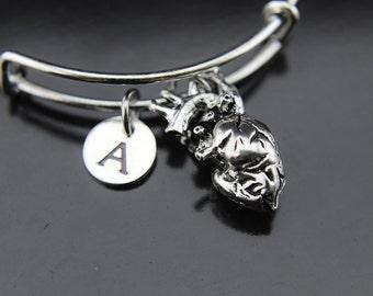 Anatomical Heart Charm Bangle Human Organ Charm Gothic Jewelry Heart Charm Bangle Personalized Bracelet Initial Bangle Initial Charm