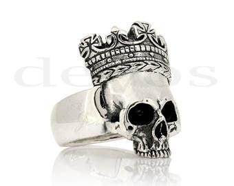 Skull Ring - Medium Half Skull with Crown Ring