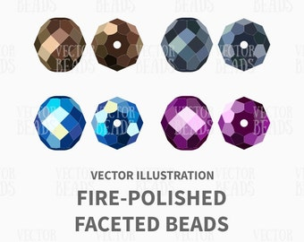 Czech Fire-Polished Faceted Beads Vector Illustration - ai, eps, pdf, png