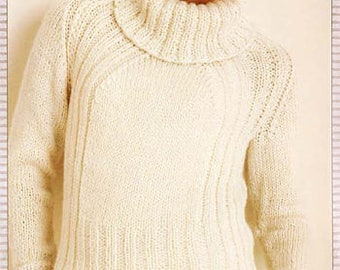 Knitting pattern- PDF-ladies raglan pullover pattern- fits XS/s up to 4/5 XL