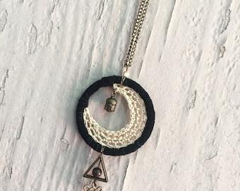 Moon dreamcatcher necklace
