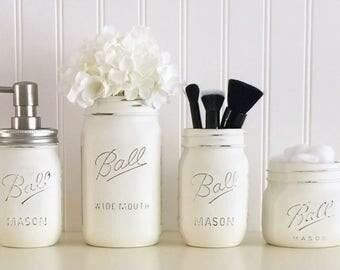Bathroom Jars painted mason jars. sports jars. bathroom bedroom party