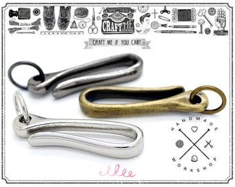 2 pcs 2 Inches Japanese Fish Hook Keyring Wallet Holder Belt Clip Leathercraft Accessories