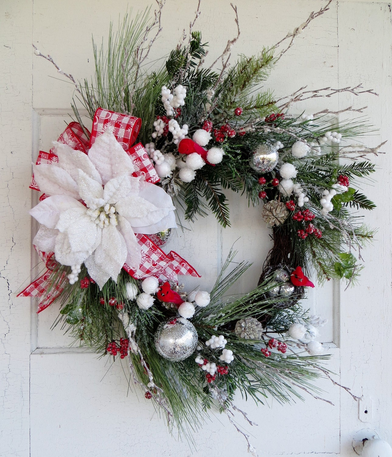 Red and white christmas wreath silver ornaments by waysideflorals - Silver and white christmas ...