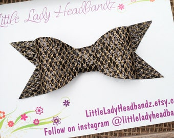 Black and Gold Mermaid Bow Large Black and Gold Glitter Bow Clip sparkle textured glitter bow - hair barrette nylon headband