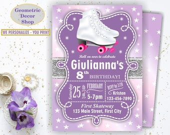 Roller Skates / Birthday Invite / Invitation / Purple Pink Silver Sparkles Girl Printable Photo Photograph / Roller Skates invitations BDRS6