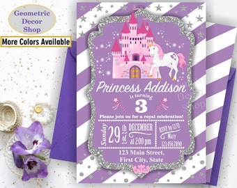 Unicorn Birthday Invitation / Princess Invitations / Purple Invitations Girl Pink Invites Magical Silver Castle Gray Photo Photograph BDU21