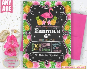 Flamingo Pineapple Birthday Invitation Pink Birthday invite Girl Invitations Printable Luau Hawaiian Pool Party Chalkboard Swimming BDP5