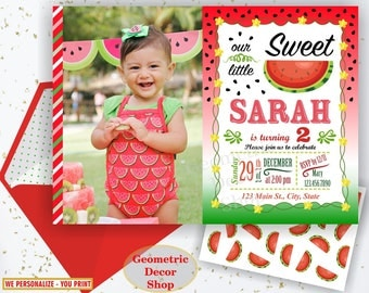 Watermelon Birthday invitation, one in a melon, summer, printable watermelon invite, invitations, red, green, pink, photo, photograph BDW7
