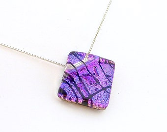 Dichroic Glass Pink Pendant Necklace