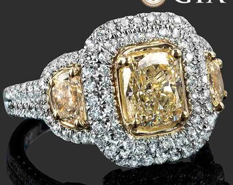 GIA 3.15 TCW Cushion Cut Yellow Diamond Engagement Ring, Cushion Diamond Engagement Ring, Cushion Diamond Ring, Halo Ring, 18k Two Tone Gold