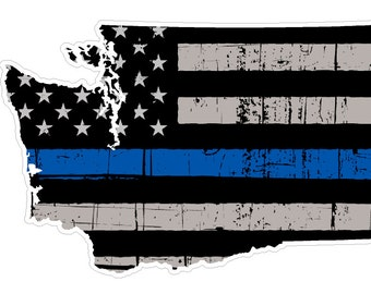 Washington State (V47) Thin Blue Line Vinyl Decal Sticker Car/Truck Laptop/Netbook Window
