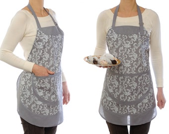 mom gift for mother gift Full apron Womens Aprons Adjustable apron Gray Cotton apron Kitchen apron Pinafore Wife gift for women gift ideas