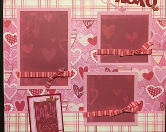 CRAZY IN LOVE Premade 12x12 scrapbook page