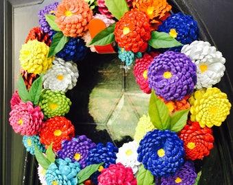 Zinnia Pinecone Wreath, Front Door Wreath, Pine Cone Wreath, Zinnia Pinecone Flowers, Spring Wreath, Summer Wreath, Red Zinnia Wreath, Gift