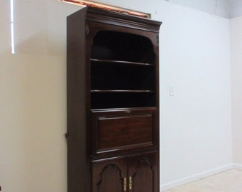 Ethan Allen Georgian Court Chippendale Bookcase Shelf Hutch Bar Liquor Cabinet