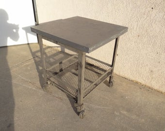 urban industrial metal zinc top lamp end side table night stand