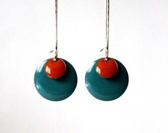 Long earrings Turquoise Orange enamelled sequins