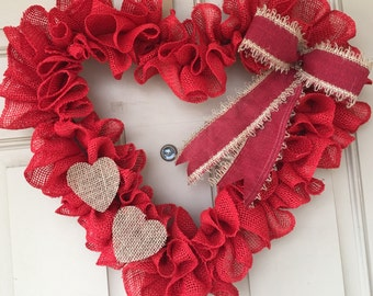 Burlap Valentines Heart Wreath with Burlap Bow and Burlap Hearts, Sweet and Simple and Perfect!