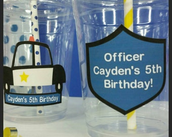 12 Personalized Police Party  Themed Party Cups with Striped Straws and Lids
