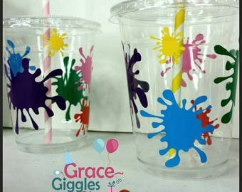 12 Paint/Art Party Inspired party Cups