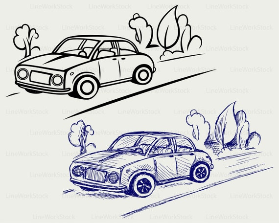 Car Auto Road Svg Clipart Silhouette Cricut Cut Files Clip Art Digital Download Eps Png Jpg From LineWorkStock On Etsy