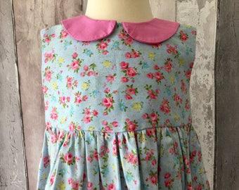 Newborn-6 Months Pink, Blue Floral Baby  Girls 100% Cotton Party Dress Peter Pan Collar