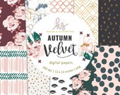 Autumn Velvet, Fall Flowers, Autumn Digital Paper, Watercolor, Gold Digital Paper, Rosegold Pattern Papers Digital Scrapbook Paper