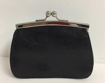 Vintage Italian Leather Clutch Purse/ Vintage Wallet Purse/ Vintage Black Clutch Wallet/ Vintage Leather/Vintage Clutch Purse