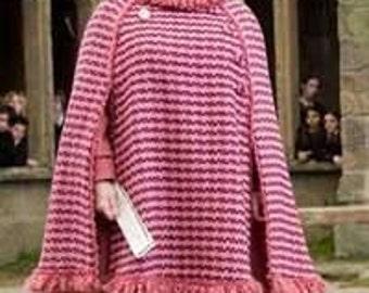 Dolores Umbridge Costume- Poncho and Pillhat- Harry Potter Halloween