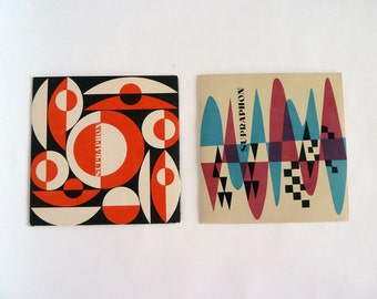 2 beautiful vintage record sleeves, Supraphon record covers, vintage paper from the 1960s, sleeves, single record