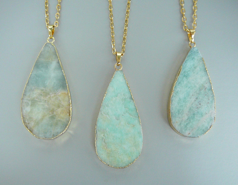 amazonite necklace amazonite pendant gift for gemstone