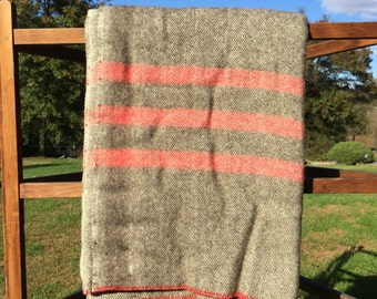 Just in time for Christmas!-- Natural Romney red/dark heathered wool blanket made from our farm's sheep wool.  Queen sized