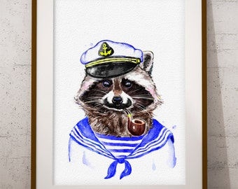 Raccoon Print, Raccoon Captain Sailor Watercolor, Nursery Decor Large, Digital Download, Printable Animals, Raccoon Wall Art (W015)