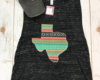 Texas Serape Fiesta adult tank tee - Sweet Texas Treasures - pinata fiesta serape texas texan girl mint tank, Tx tshirt, texas tank, womens