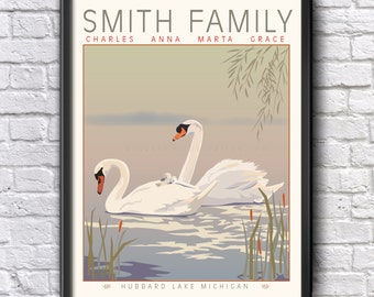 Personalized Swan Family, Lake Vacation Home custom Mother's Day Anniversary Poster Art