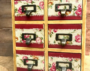 Set of six up cycled crafters desktop drawers