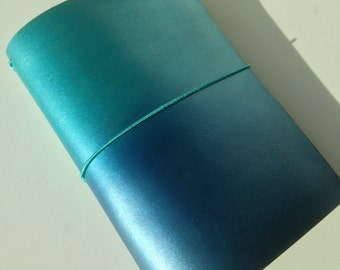 Leather travelers notebook cover,planner, midori, fauxdori.  Ocean ombre dyed. Choose your size