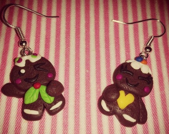 A pair of earrings of precious ginger cookies made from fimo Earrings Gingerbread cookie polimer clay