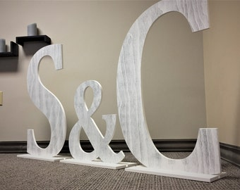Free Standing Initials, Large Wood Letters, Wedding Decor, Distressed White, large letters, Wedding Guestbook idea