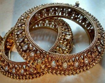 rajasthani indian crystal bangles, new 2.8
