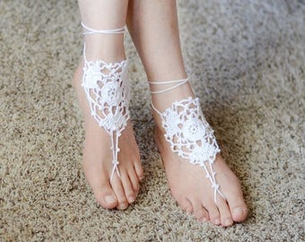 Crochet Barefoot Sandals, Barefoot Sandals Pattern, Beach Wedding, Bridesmaid, Bridal Gift,Beach Party, Foot Jewelry, Foot Accessories