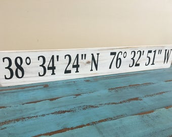 Latitude and Longitude Custom Sign/Coordinates Sign/Custom Coordinate Sign/Custom Latitude and Longitude Wood Sign