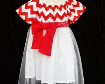 """Girls party dress, Red chevron dress, Clothing for girls, sizes 1Toddler, """"READY TO SHIP"""""""